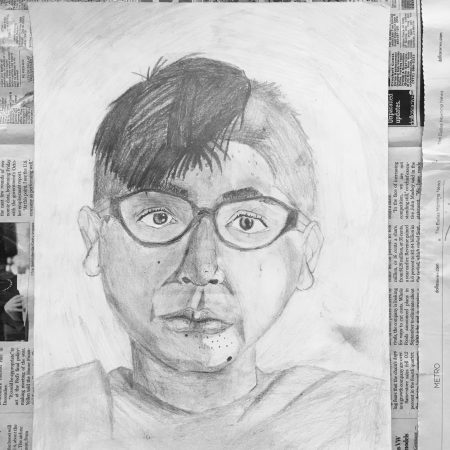 Portrait Drawing in process Studio Arts Dallas